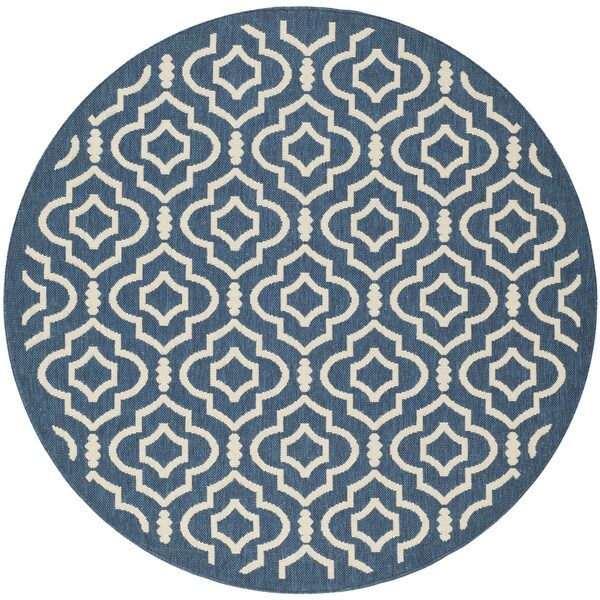 Safavieh Indoor Outdoor Courtyard Navy Beige Rug 5 3