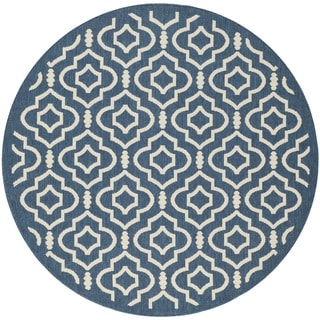 Safavieh Antimicrobial Indoor/ Outdoor Courtyard Navy/ Beige Rug (6'7 Round)