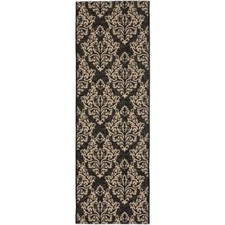Safavieh Indoor/ Outdoor Courtyard Black/ Cream Rug (2'3 x 8')