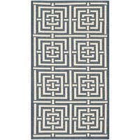 Safavieh Geometric Indoor/Outdoor Courtyard Navy/Beige Rug - 2' x 3'7