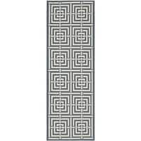 "Safavieh Geometric Indoor/Outdoor Courtyard Navy/Beige Rug - 2'3"" x 6'7"" Runner"
