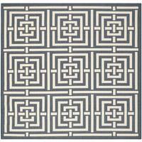 Safavieh Geometric Indoor/Outdoor Courtyard Navy/Beige Rug - 6'7 Square