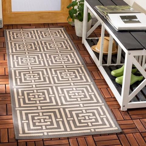 Safavieh Indoor/ Outdoor Courtyard Grey/ Cream Rug - 2'3 x 16'