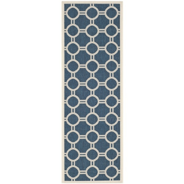 "Safavieh Indoor/Outdoor Courtyard Navy/Beige Runner Rug - 2'3"" x 6'7"" Runner"