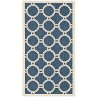 "Safavieh Contemporary Indoor/Outdoor Courtyard Navy/Beige Rug - 2'7"" x 5'"