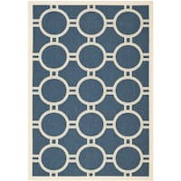 Safavieh Patterned Indoor/Outdoor Courtyard Navy/Beige Rug - 6'7 x 9'6