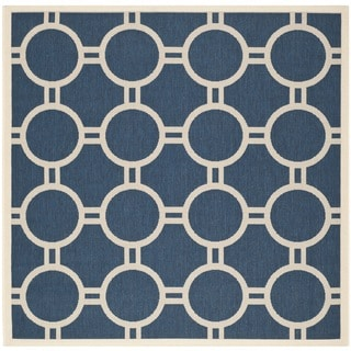 Safavieh Indoor/ Outdoor Courtyard Navy/ Beige Rug (6'7 Square)