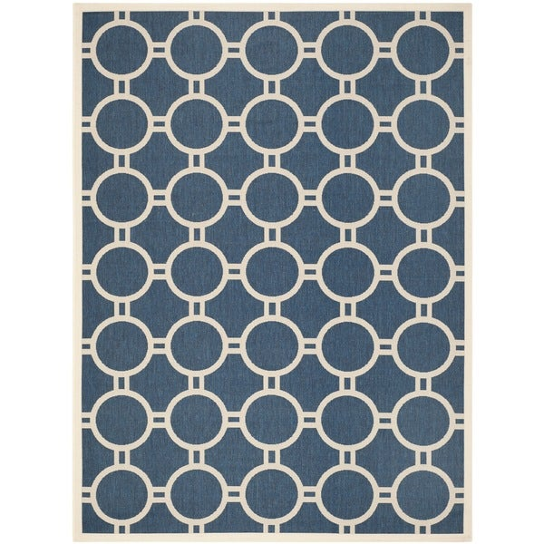 Safavieh Circle-Patterned Indoor/Outdoor Courtyard Navy/Beige Rug - 8' x 11'