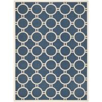 Safavieh Circle-Patterned Indoor/Outdoor Courtyard Navy/Beige Rug - 9' x 12'
