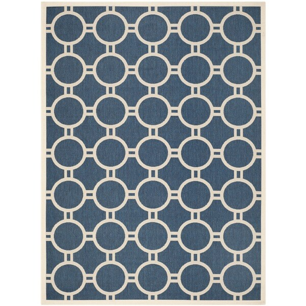 Shop safavieh circle patterned indoor outdoor courtyard navy beige rug 9 39 x 12 39 on sale - Carving alfombras ...