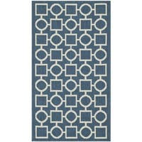 Safavieh Geometric Indoor/Outdoor Courtyard Navy/Beige Rug - 2'7 x 5'