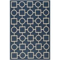 Safavieh Geometric Indoor/Outdoor Courtyard Navy/Beige Rug - 5'3 x 7'7
