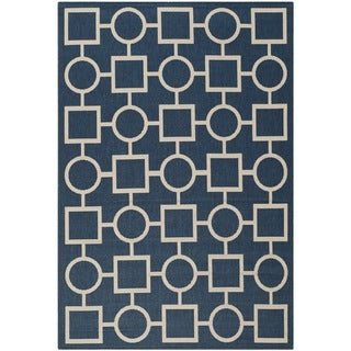 Safavieh Abstract Indoor/Outdoor Courtyard Navy/Beige Rug (8' x 11')