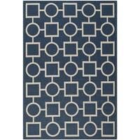 Safavieh Abstract Indoor/Outdoor Courtyard Navy/Beige Rug - 8' x 11'