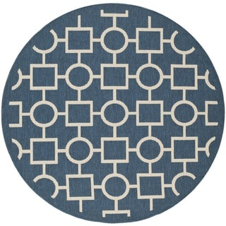 "Safavieh Indoor/Outdoor Courtyard Navy/Beige Geometric-Patterned Rug (5'3"" Round)"