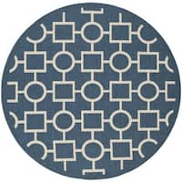Safavieh Courtyard Navy/Beige Indoo/Outdoor Multi-Shape-Patterned Rug - 6'7 Round