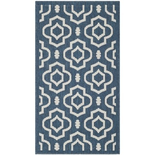 Safavieh Abstract Indoor/Outdoor Courtyard Navy/Beige Rug (2' x 3'7)