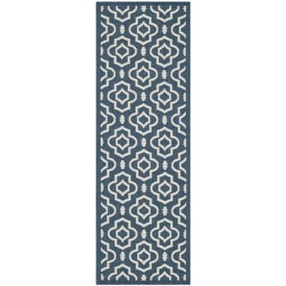 Safavieh Abstract Indoor/Outdoor Courtyard Navy/Beige Rug (2'3 x 10)
