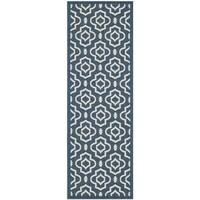 "Safavieh Abstract Indoor/Outdoor Courtyard Navy/Beige Rug - 2'3"" x 10' Runner"