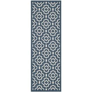 Safavieh Abstract Indoor/Outdoor Courtyard Navy/Beige Runner Rug (2'3 x 6'7)