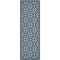 Safavieh Abstract Indoor/Outdoor Courtyard Navy/Beige Runner Rug - 2'3 x 6'7