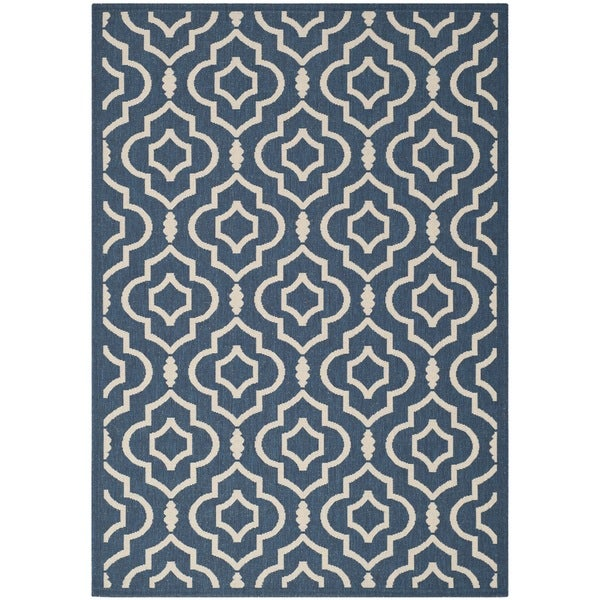 Safavieh Abstract Indoor Outdoor Courtyard Navy Beige Rug
