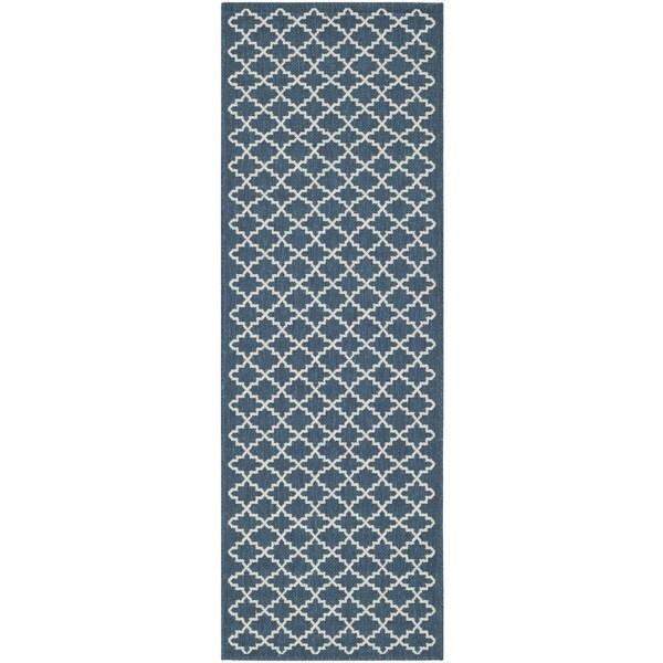 Safavieh Latex-Free Indoor/Outdoor Courtyard Navy/Beige Rug (2'3 x 10') - 2'3 x 10'
