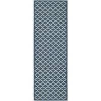 Safavieh Latex-Free Indoor/Outdoor Courtyard Navy/Beige Rug - 2'3 x 10'