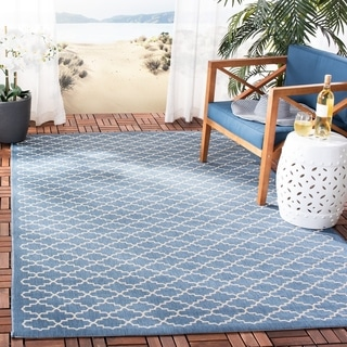 Safavieh Power-Loomed Indoor/Outdoor Courtyard Navy/Beige Rug (2'7 x 5')