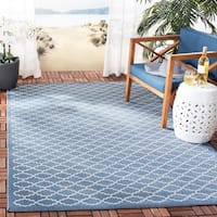 Safavieh Power-Loomed Indoor/Outdoor Courtyard Navy/Beige Rug - 2'7 x 5'
