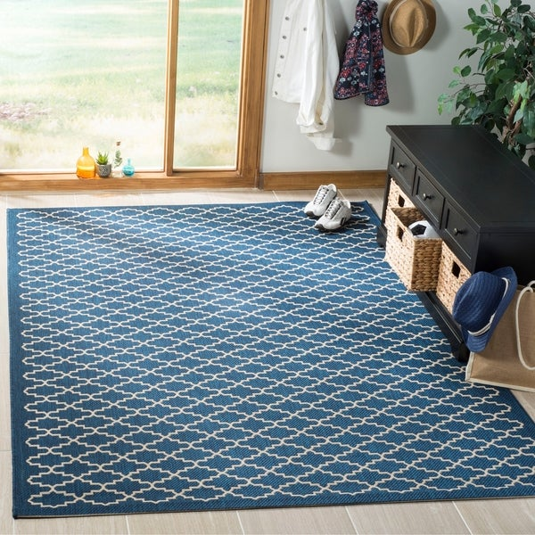 Safavieh Indoor/Outdoor Courtyard Navy/Beige Rug - 8' X 11'