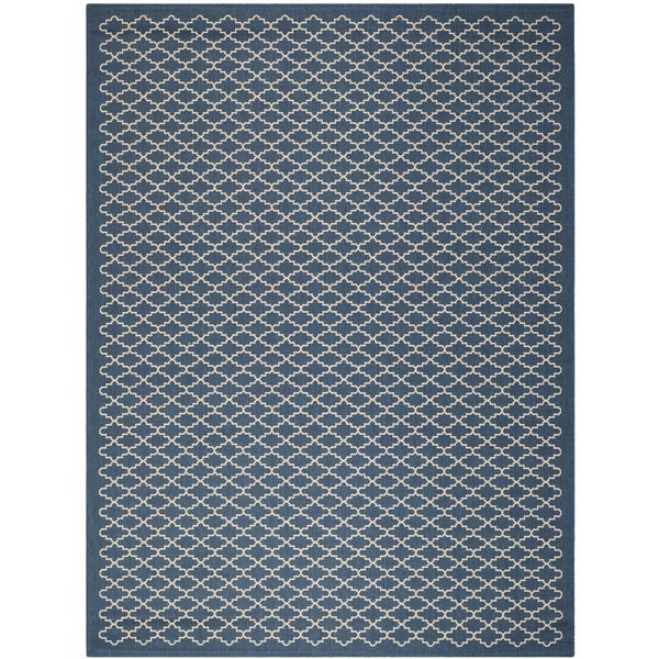 Safavieh Indoor Outdoor Courtyard Navy Beige Area Rug 9