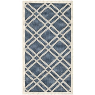 Safavieh Diamond-Pattern Indoor/Outdoor Courtyard Navy/Beige Rug (2' x 3'7)
