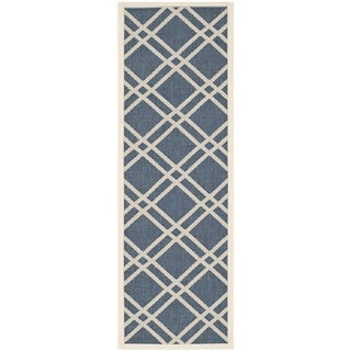 Safavieh Diamond-Pattern Indoor/Outdoor Courtyard Navy/Beige Rug (2'3 x 10')