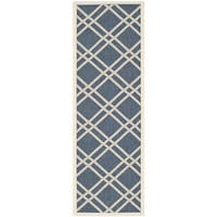 "Safavieh Diamond-Pattern Indoor/Outdoor Courtyard Navy/Beige Rug - 2'3"" x 10' Runner"