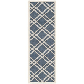 Safavieh Diamond-Pattern Indoor/Outdoor Courtyard Navy/Beige Rug (2'3 x 6'7)