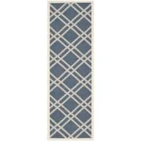 "Safavieh Diamond-Pattern Indoor/Outdoor Courtyard Navy/Beige Rug - 2'3"" x 6'7"" Runner"