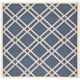 Safavieh Indoor/Outdoor Diamond-Pattern Courtyard Navy/Beige Rug (6'7 Square)