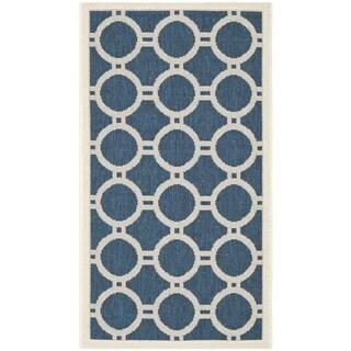 Safavieh Indoor/Outdoor Courtyard Navy/Beige Accent Rug (2' x 3'7)
