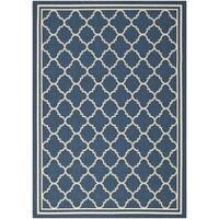 Safavieh Dhurrie Indoor/Outdoor Courtyard Navy/Beige Rug (6'7 x 9'6) - 6'7 x 9'6
