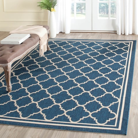 Safavieh Courtyard Kailani Navy / Beige Indoor/ Outdoor Rug - 9' x 12'