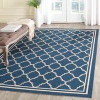 Safavieh Dhurrie Indoor/Outdoor Courtyard Navy/Beige Rug - 9' x 12'