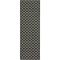 Safavieh Indoor/ Outdoor Courtyard Black/ Beige Rug - 2'4 x 12'