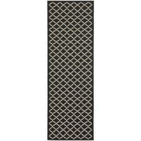 "Safavieh Indoor/ Outdoor Courtyard Black/ Beige Rug - 2'4"" x 12'"