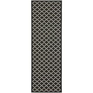 Safavieh Indoor/ Outdoor Courtyard Black/ Beige Rug (2'3 x 18')