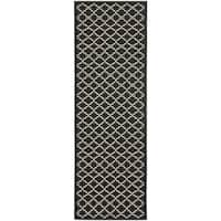 "Safavieh Indoor/ Outdoor Courtyard Black/ Beige Rug - 2'3"" x 18' Runner"
