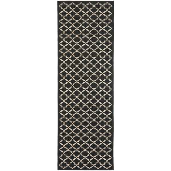 "Safavieh Indoor/ Outdoor Courtyard Black/ Beige Rug - 2'3"" x 20' Runner"