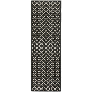 Safavieh Indoor/ Outdoor Courtyard Black/ Beige Rug (2'3 x 22')
