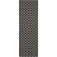"""Safavieh Contemporary Indoor/ Outdoor Courtyard Black/ Beige Rug - 2'3"""" x 8'"""