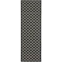 Safavieh Contemporary Indoor/ Outdoor Courtyard Black/ Beige Rug - 2'3 x 8'